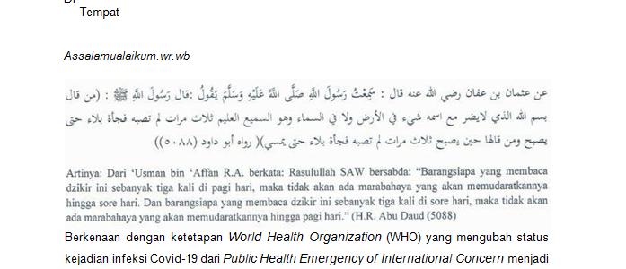 Maklumat Libur Ramadhan dan Antisipasi Perkembangan Penyebaran Virus Corona (Covid-19)